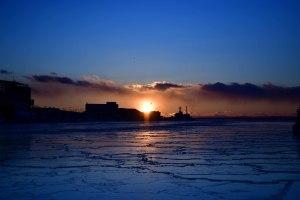 釧路港の夕日